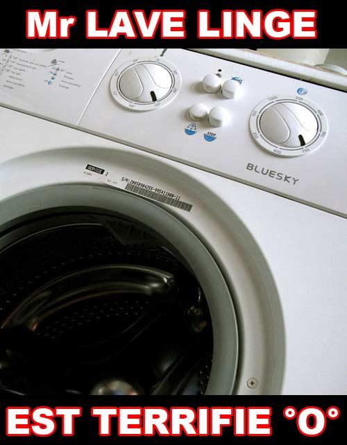 Mr lave linge est terrifié