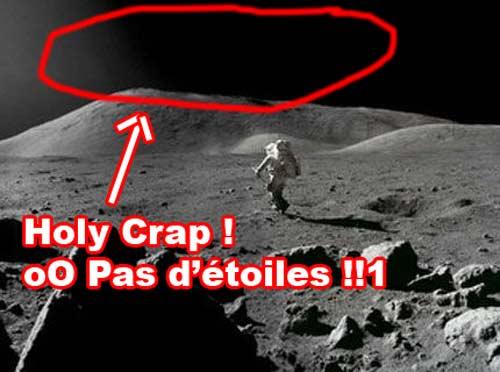 Homme sur la lune pas d'étoiles