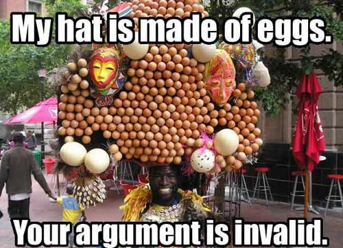 My hat is made of eggs