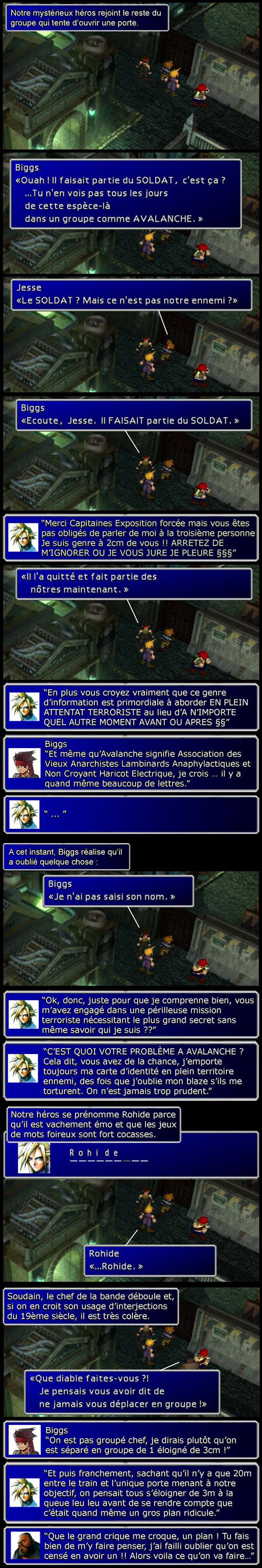 Final Fantasy 7 : Cloud, aka Rohide, rejoint Jess et Biggs qui tentent d'ouvrir la porte menant au réacteur 1