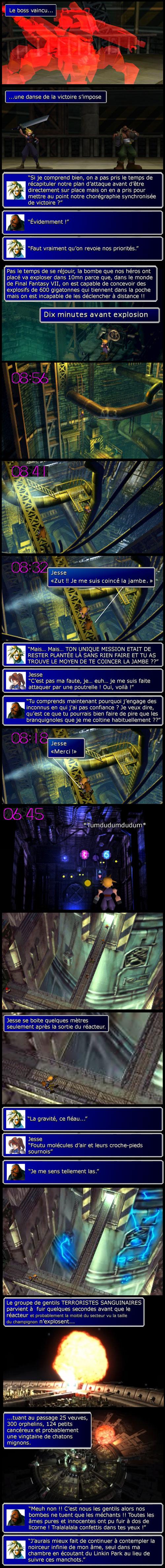 Final fantasy 7 : Le robot scorpion tué, Cloud et Avalanche fuient les lieux, le réacteur explose