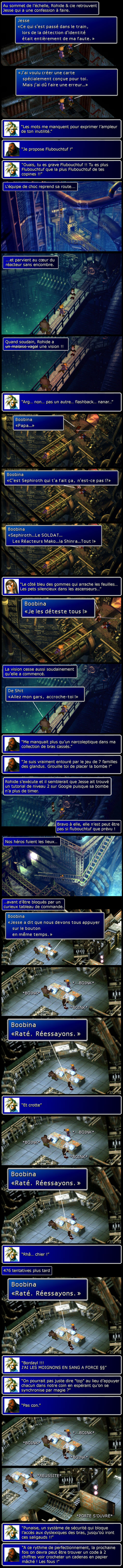 Final fantasy 7 : Mise en place de la bombe, Flashback troublant et système de sécurité par synchronisation des bras