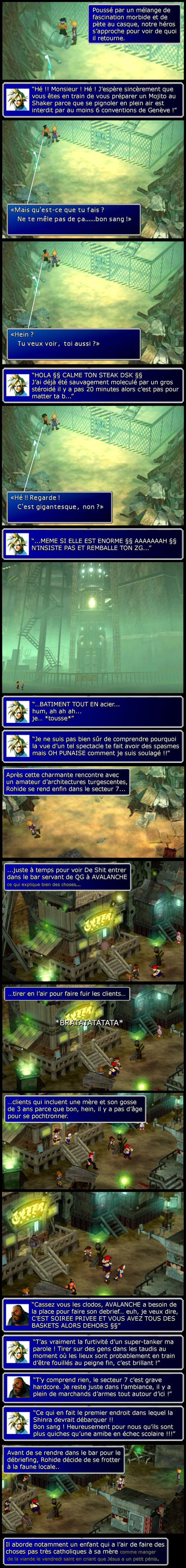 Final fantasy 7 : Cloud discute avec le type chelou et Barret joue les videur de bar