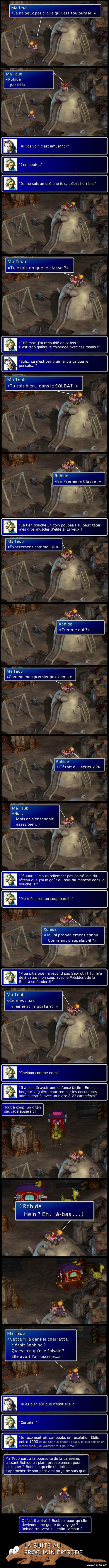 Final fantasy 7 : Tête à tête entre Cloud et Aeris sur un toboggan moche. Cloud passe à deux doigts de se manger un vilain râteau. On découvre que Tifa/Boobina est devenue gente du voyage.