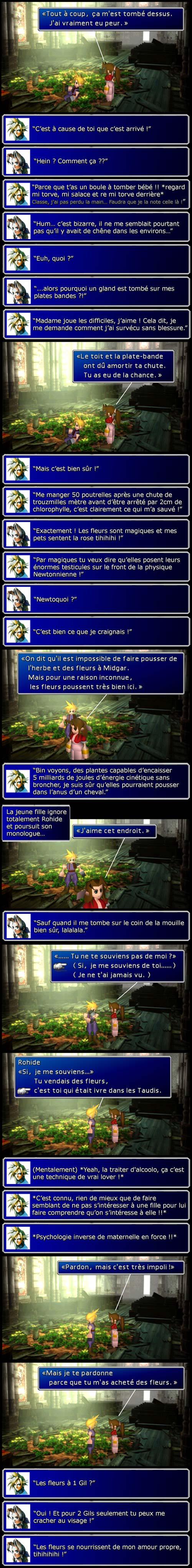 Final fantasy 7 : On découvre que la physique des jeux vidéo fait l'amour à Newton et Aeris n'a pas d'amour propre.