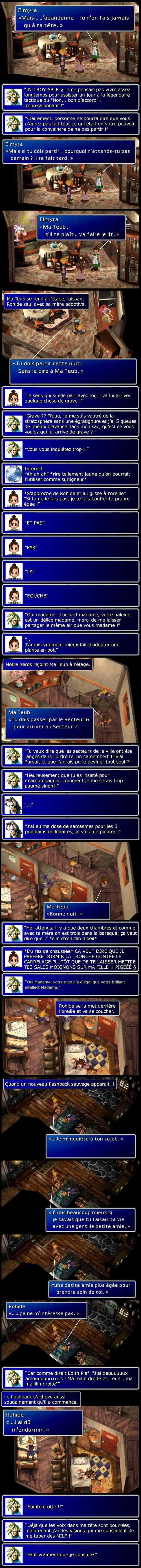 Final fantasy 7 : La mère d'Aeris demande à Cloud de se casser et ce dernier est attaqué par un flasback.