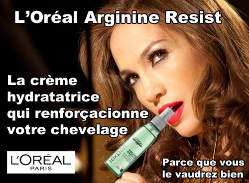 Publicité pourrie l'oréal crème renforçatrice